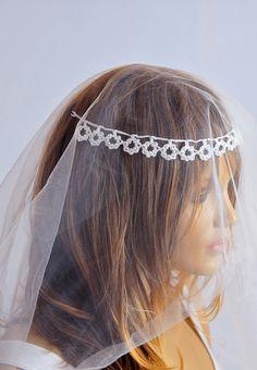 Wedding crochet Headband hair Accessories handmade Weddings beaded Hair Piece Bridal Accessories bride Women hairwraps gift ideas etsy