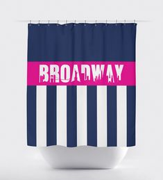 Do you have dreams of being on Broadway?  This shower curtain is perfect for any musical theatre or theatre loving kid or teen!   It will look perfect in any thespian's bathroom.  You can customize it with the colors of your choice or choose the navy blue and hot pink shown.  This unique, custom shower curtain would make the perfect Christmas present or birthday gift for any boy or girl who loves music theatre or theatre.