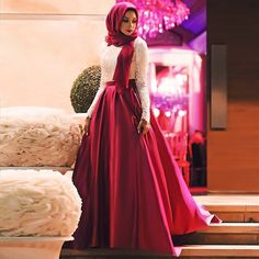 2017 New A line Elegant Long Sleeve abendkleider robe de soiree Burgundy Evening Dress vestido de festa Muslim Prom Dresses