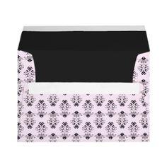 Pink & Black Damask Envelopes