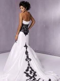White with black lace wedding dress back -- so gonna be mine!!