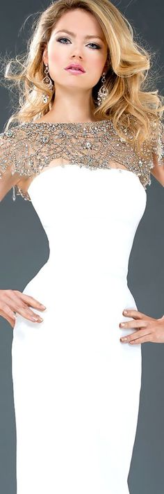 Jovani jaglady white dress jeweled collar bib
