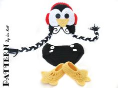 Penguin Hat Diaper Cover and Slippers Set Crochet PDF Pattern