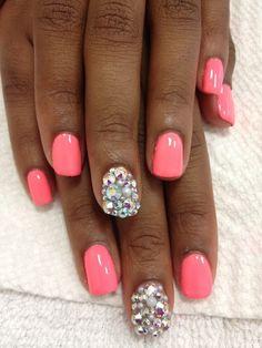 #nails #neon #coral #rhinestones
