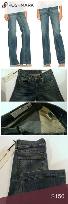 SALENWT Rag & Bone Jean Wide Leg Denim Jeans Gorgeous medium blue denim in Brick Lane wash.  New with tags, size 24 U.S.  know your size.  Jeans are intentionally distressed, color changes depending on lighting.  $220 + tax retail.  Extra 33% off Price drop!  No❌Trades.❌NoLowballers rag & bone Jeans Flare & Wide Leg