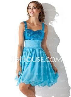 Homecoming Dresses - $129.99 - A-Line/Princess Sweetheart Knee-Length Chiffon Sequined Homecoming Dress With Ruffle (022013850) http://jjshouse.com/A-Line-Princess-Sweetheart-Knee-Length-Chiffon-Sequined-Homecoming-Dress-With-Ruffle-022013850-g13850