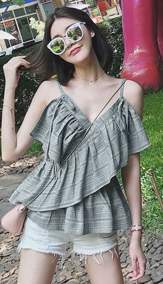 Fashiontroy Holiday collection beachwear sleeveless grey checked ruffled cotton blend camisole spring summer