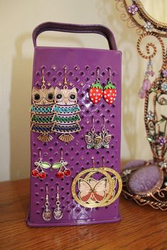 upcycled pink painted cheese grater as homemade earring holder diy idea