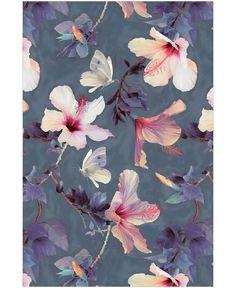 Butterflies & Hibiscus Flowers als Tapete von Micklyn Le Feuvre | JUNIQE
