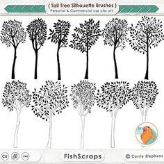 Tall Tree ClipArt Silhouettes, Line Art, Leaves and Trees Clip Art, Woodland Forest, 10 inch, Instant Download