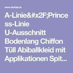 A-Linie/Princess-Linie U-Ausschnitt Bodenlang Chiffon Tüll Abiballkleid mit Applikationen Spitze (0185094843) - Vbridal