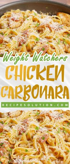 Chicken Carbonara > > A mouth watering combination of creamy alfredo chicken and bacon in a hearty pasta dish Yield: 6 ServingsServing Size: of the recipe Ingredients : 5 strips bacon cooked and diced. Weight Watchers Pasta, Weight Watcher Dinners, Weight Watchers Desserts, Poulet Weight Watchers, Weight Watchers Meal Plans, Weight Watchers Casserole, Chicken Carbonara Recipe, Chicken Spaghetti Recipes, Skinny Recipes
