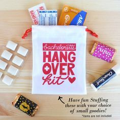 Kaspi Party has the best bachelorette hangover kits and bachelorette survival kits. This works great in a bachelorette party as a bachelorette party favor bag for your girls night out. Our hangover kit bags are the perfect size to carry in your purse. Visit us at: www.kaspiparty.com