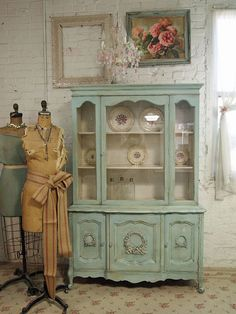 Green Vintage China Cabinet I cannot wait to do more of a green with my Cape Cod dishes in it!!!!!!