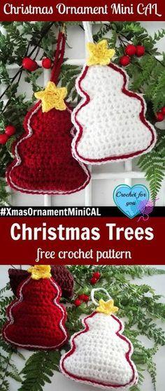 Christmas Ornament Mini CAL – Christmas Crochet Trees. #xmasornamentminical