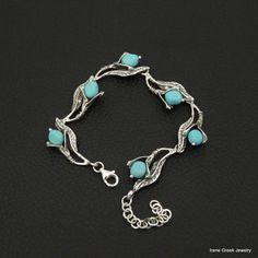 Blue Turquoise Bracelet Flower Design 925 Sterling Silver