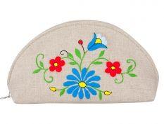 Duża półokrągła kosmetyczka - haftowany wzór kaszubski