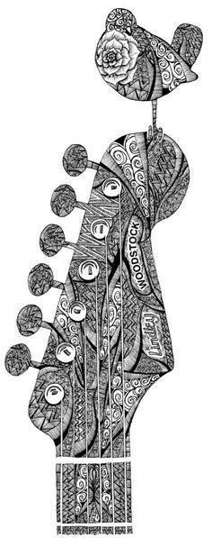 Woodstock ... Guitar zentangle