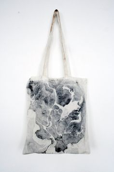 Marble canvas tote BLACK