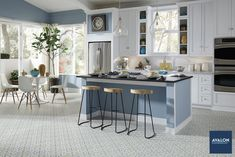Create a colorful backdrop in your space with patterned vinyl sheet flooring #vinylflooring #vinylsheetflooring #patternedvinylflooring #interiordesign