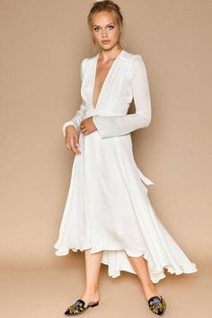 100% silk floor length maxi wrap dress: Low-v neck, long sleeves, and ties in the back. Unlined (But made from a thick Charmeuse). Dry clena only.   Nico White Silk Gown by Stone Cold Fox. Clothing - Dresses - Midi California