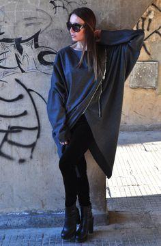New AW2016 Maxi Dark Gray Tunic / Loose Cotton от EUGfashion
