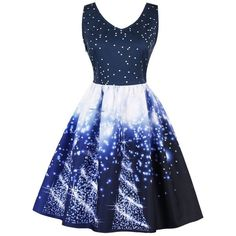 Dark Blue Starry Sky Print Vintage Christmas Pin Up Dress ($29) ❤ liked on Polyvore featuring dresses, blue pinup dress, star dress, blue vintage dress, print dress and vintage print dress