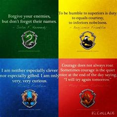 Slytherin, Gryffindor, Ravenclaw and Hufflepuff! Harry Potter World, Theme Harry Potter, Mundo Harry Potter, Harry Potter Quotes, Harry Potter Universal, Harry Potter Hogwarts, Harry Potter Houses Traits, Harry Potter Insults, Harry Potter House Quiz