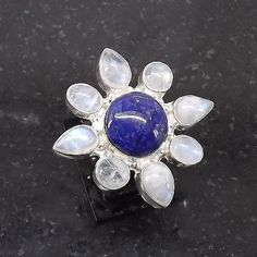 Lovely Rainbow Moonstone Ring plated with 925 Sterling Silver Handmade Size: 10