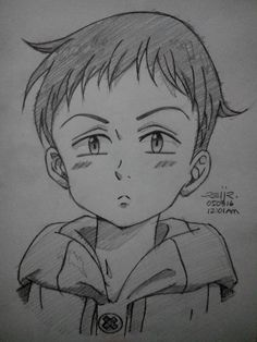 my sketch of king from nanatsu no taizai king: grizzly's sin of sloth Anime Chibi, Anime Kawaii, Manga Anime, Anime Art, Naruto Sketch, Anime Sketch, Seven Deadly Sins Anime, Anime Character Drawing, Character Art