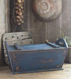 "Primitive Early Homestead Look Large Dough Box w/Lid *Prim Blue 21""x11""x10"""
