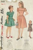 """An original ca. 1947 Simplicity Pattern 2068.  Girl's One-Piece Dress. A """"Mother and Daughter Fashion"""". For Mother see Simplicity 2039. The back buttoning bodice is fitted with waistline darts and joins the gathered skirt at the natural waistline. Ruffling outlines the square yoke. The dress may have puffed sleeves with a ruffled effect at the lower edge, or it may be sleeveless. Style 1 has a high round neckline. Style 2 has a square neckline and is worn with a sash."""