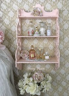 Shabby Pink Curio Shelf Three Tier Teacup shelf Pink Display Shelf Scroll shelf shabby cottage chic bedroom bathroom fanny pippin by FannyPippin on Etsy Shabby Chic Mode, Estilo Shabby Chic, Shabby Chic Interiors, Shabby Chic Pink, Shabby Chic Cottage, Shabby Chic Style, Shabby Chic Furniture, Bedroom Furniture, Deco Furniture