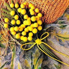 Брошь-цветок Мимоза из шерсти