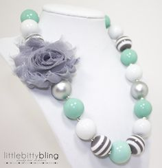 Mint Shabby Chunky Necklace Girls Chunky by littlebittybling, $21.00
