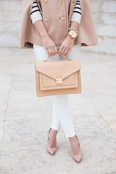 Fall fashion: white after Labour Day (skinnies), camel poncho, striped sweater, nude & gold accessories.