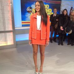 January 29, 2014: Rihanna appears on Good Morning America in a tangerine boucle suit by Chane, bodysuit by Adam Selman, jewels by Jennifer Fisher and shoes by Manolo Blahnik.