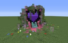 Girlfriend wanted a cuter looking nether portal. This is my first attempt : Mine. - Girlfriend wanted a cuter looking nether portal. This is my first attempt : Minecraft Girlfriend wa - Mobs Minecraft, Craft Minecraft, Minecraft Portal, Cute Minecraft Houses, Minecraft Garden, Minecraft Farm, Minecraft Banner Designs, Minecraft Structures, Minecraft Plans