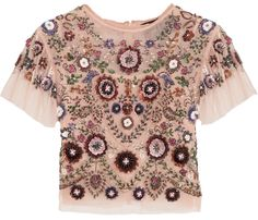 Shop for Enchanted Embellished Tulle Top - Antique rose by Needle & Thread at ShopStyle. Loose Crop Top, Loose Fitting Tops, Loose Tops, Crop Tops, Cut Loose, Embellished Crop Top, Sequin Crop Top, Sequin Shirt, Crop Shirt