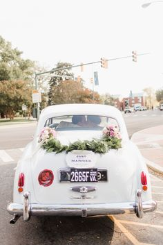 """""""Just Married"""" Exit Car Sign   First Class Limo Service   Amanda Veronee   Posh PR   The Herringtons   Annamarie Akins Photography https://www.theknot.com/marketplace/annamarie-akins-photography-richmond-va-528564"""