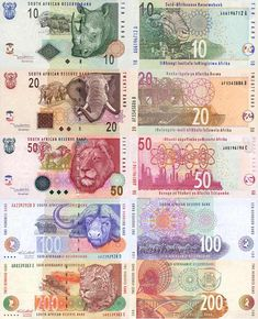 South African rand (currency) feauturing the Big 5 (animals) honeymoon! Printable Play Money, South African Design, Money Notes, Old Money, Thinking Day, Pretoria, African History, Coin Collecting, Vintage World Maps