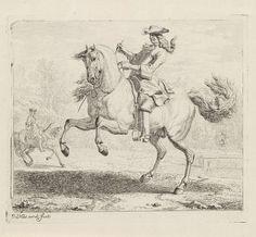 Dirk Maas | Steigerend paard met ruiter, Dirk Maas, 1669 - 1717 | Steigerend paar met ruiter, naar links, in een landschap. Links op de achtergrond een tweede ruiter. Prent uit een serie van negen prenten met onderwerp de manege.