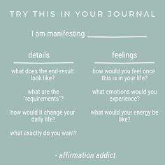 One of my favorite ways to get clear on what I'm manifesting is to write out all the details of what the manifestation would allow and the feelings I'd feel once I have it. Here's a little chart to help you do this. But the clearer you are, the more you can start to channel this energy and get ready for your manifestation. So, what are you manifesting? Declare it below👇🏽  #affirmationaddict #feelgood #spiritualthought
