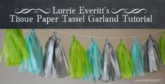 the creative bag blog: Tissue Paper Tassel Garland Tutorial: step by step pictures and instructions