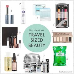 the best beauty products for travel, travel size makeup, vapour aura blush, urban decay makeup setting spray, real techniques travel essenti...