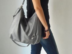 Grey leather bag - Leather hobo bag - Soft leather bag - Laptop bag - LARGE HELEN bag by Laroll on E Leather Hobo Bags, Leather Purses, Leather Shoulder Bag, Leather Handbags, Hobo Handbags, Shoulder Bags, Grey Leather, Soft Leather, Natural Leather
