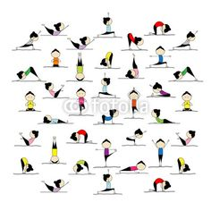 Vektor: People practicing yoga, 25 poses for your design