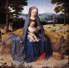 """Gerard David. """"Virgen con el Niño y cuatro Ángeles"""" 1505. Metropolitan Museum of Art, New York, USA."""