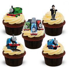 17 Large Stand Up Edible Thomas The Tank Engine and friends Cake Toppers These great Thomas The Tank Engine character stand up cake toppers are printed on thick quality(thickness of card) wafer paper so they stand up perfectly in buttercream.  They are printed with edible inks. These toppers require cutting out with scissors and then they will stand up in buttercream icing.  These cake toppers are great for all your childrens Birthday parties.  Shelf life of 9 - 12 months if kept dry.  Wafer…