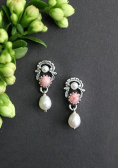 Schmuck Design, Pearl Earrings, Brooch, Pearls, Jewelry, Fashion, Pink Jewelry, Silver Drop Earrings, Women Accessories